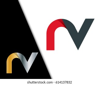 Initial Letter NV RV Rounded Lowercase Logo
