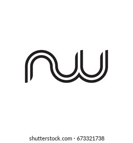 Initial letter nw, linked outline rounded lowercase, monogram black
