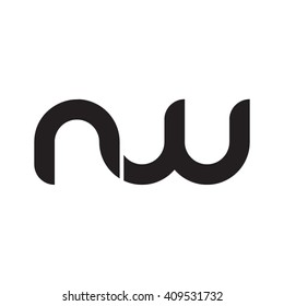 initial letter nw linked round lowercase monogram logo black