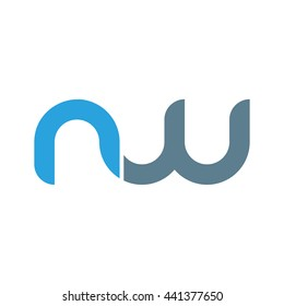 initial letter nw linked round lowercase logo blue