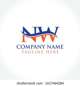Initial Letter NW Logo Design Vector Template. Orange And Blue NW Letter Logo
