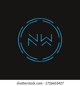 Initial Letter NW Logo Design Vector Template. Digital Abstract NW Letter Logo Design