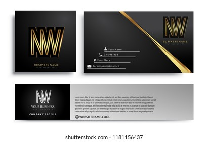 initial letter NW logotype company name colored gold elegant design. Vector sets for business identity on black background.