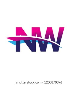 initial letter NW logotype company name colored blue and magenta swoosh design. vector logo for business and company