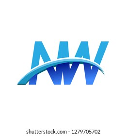 initial letter NW logotype company name colored blue and swoosh design. vector logo for business and company identity.