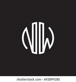 Initial letter NW, minimalist line art monogram circle shape logo, white color on black background