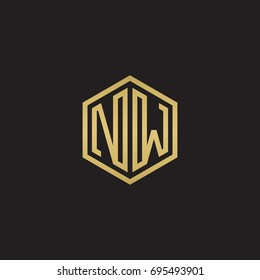 Initial letter NW, minimalist line art hexagon logo, gold color on black background