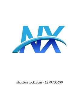 initial letter NX logotype company name colored blue and swoosh design. vector logo for business and company identity.