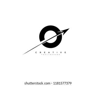 Initial Letter O Artistic Creative Arrow Shape Logotype