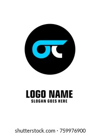 Initial letter O & C logo template vector