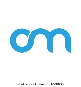 initial letter o linked round lowercase logo blue
