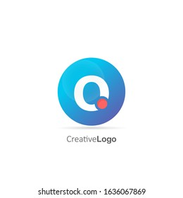 Initial Letter O Logo with Circle and dot. Design Vector Logo Template