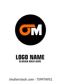 Initial letter O & M logo template vector