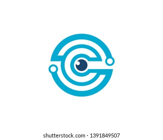 initial letter O S C anagram with an eye in the center as cable connection logo