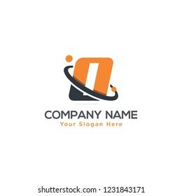 Initial Letter O Swoosh Orbit Logo Designs Vector Orange Colors in White Backgrounds