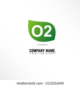 Initial letter O2 linked logo design with green leaf icon