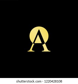 Initial letter OA AO minimalist art logo, gold color on black background.
