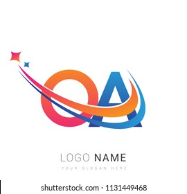 initial letter OA logotype company name colored orange, red and blue swoosh star design. vector logo for business and company identity.