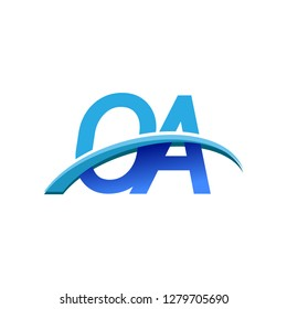 initial letter OA logotype company name colored blue and swoosh design. vector logo for business and company identity.
