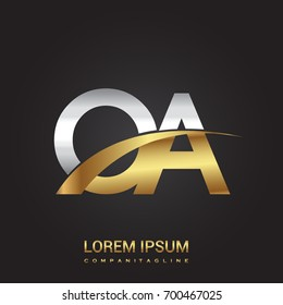 initial letter OA logotype company name colored gold and silver swoosh design. isolated on black background.
