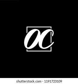 Initial letter OC CO minimalist art monogram shape logo, white color on black background
