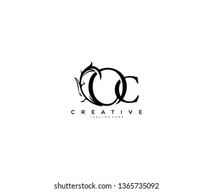 Initial Letter OC Linked Monogram Floral Modern Gothic Logotype