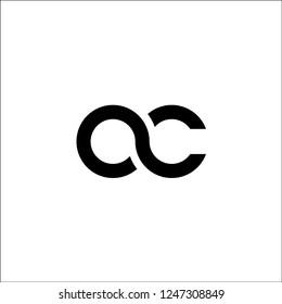 initial letter oc linked round lowercase monogram logo black