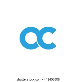 initial letter oc linked round lowercase logo blue