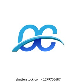 initial letter OC logotype company name colored blue and swoosh design. vector logo for business and company identity.