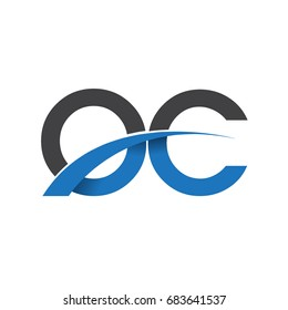 initial letter OC logotype company name colored blue and grey swoosh design. vector logo for business and company identity.