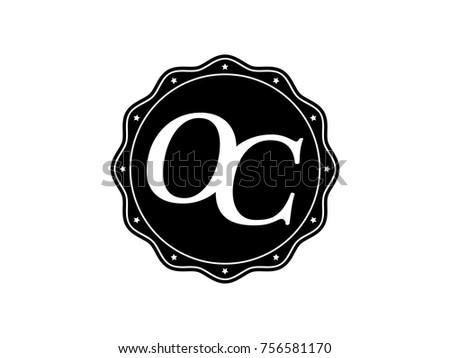 Initial Letter Oc Monogram Logo Black Stock Vector Royalty Free