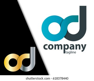Initial Letter OD CD SD Rounded Lowercase Logo