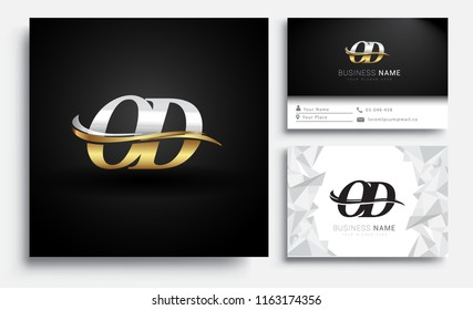 initial letter OD logotype company name colored gold and silver swoosh design. Vector sets for business identity on white background.