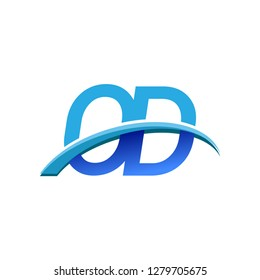 initial letter OD logotype company name colored blue and swoosh design. vector logo for business and company identity.