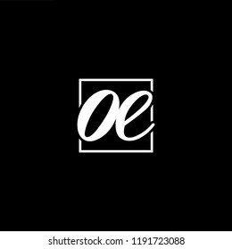Initial letter OE EO minimalist art monogram shape logo, white color on black background