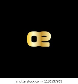 Initial Letter OE Linked Logo in Golden Colored