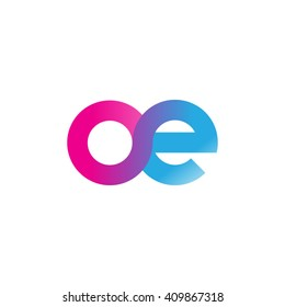 initial letter oe linked round lowercase logo pink blue purple