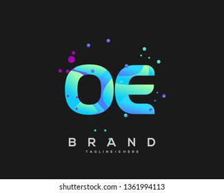 Initial letter OE logo with colorful background, letter combination logo design for creative industry, web, business and company. - Vector