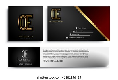 initial letter OE logotype company name colored gold elegant design. Vector sets for business identity on black background.