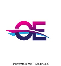 initial letter OE logotype company name colored blue and magenta swoosh design. vector logo for business and company