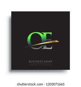 initial letter OE logotype company name colored green and gold swoosh design. vector logo for business and company