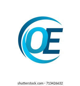 initial letter OE logotype company name blue circle and swoosh design. vector logo for business and company identity.