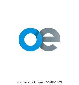 initial letter oe modern linked circle round lowercase logo blue gray
