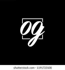 Initial letter OG GO minimalist art monogram shape logo, white color on black background