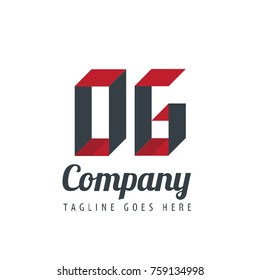 Initial Letter OG Logo With Ribbon Style