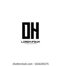 Initial letter OH minimalist art logo vector