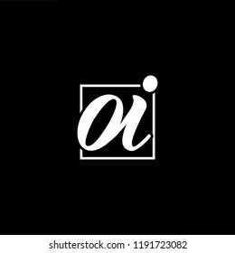 Initial letter OI IO minimalist art monogram shape logo, white color on black background