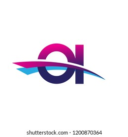 initial letter OI logotype company name colored blue and magenta swoosh design. vector logo for business and company