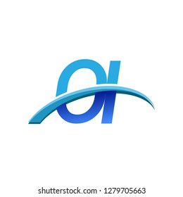 initial letter OI logotype company name colored blue and swoosh design. vector logo for business and company identity.