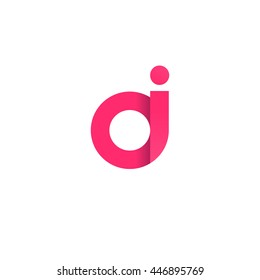 initial letter oi modern linked circle round lowercase logo pink